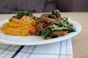 Asian Beef Strips with Carrot Puree