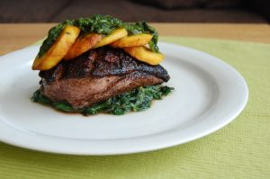 Spiced Duck Breast with Plantains and Cilantro-Mint Sauce