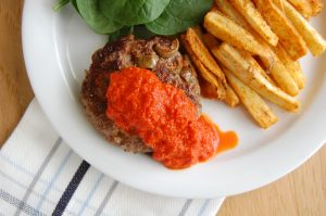 Italian Hamburgers with Roasted Pepper Sauce