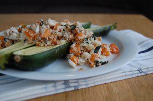 Zucchini with Cod Apricot Salsa