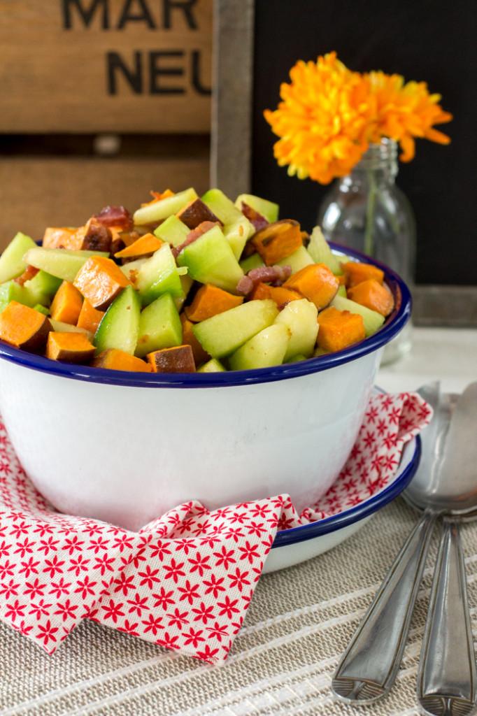 Meloen-zoete aardappelsalade