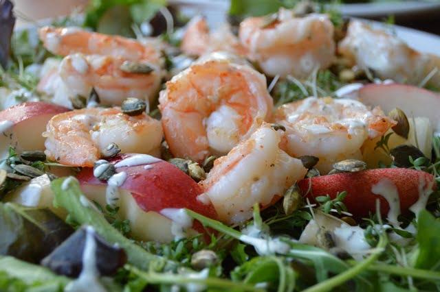 Garnalen Nectarine Salade