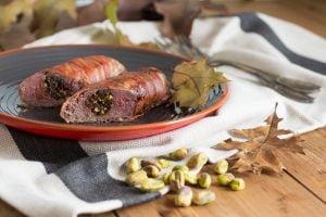 Hazenrug met bacon en pistache