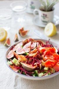 Snelle Lunchsalade met Vijgen en Zalm