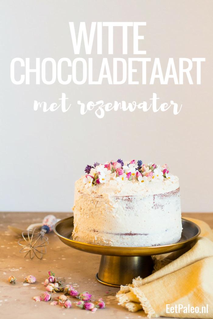 Witte Chocoladetaart met Rozenwater