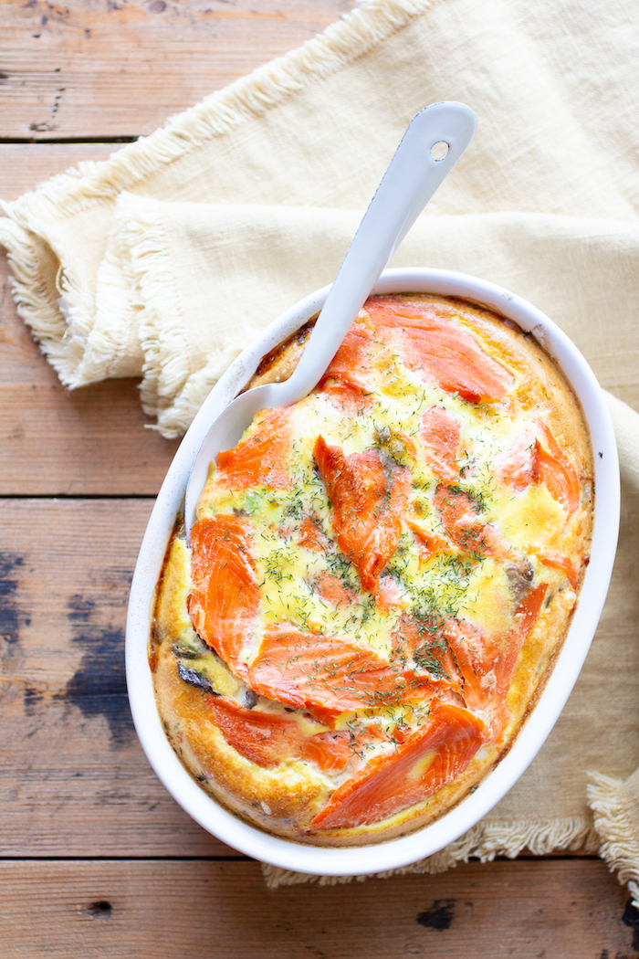 Paleo Zalmschotel recept amandelmelk knolselderij eieren makkelijke ovenschotel